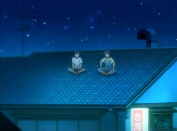 屋根で会話