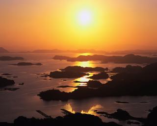 image夕日と島
