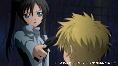 破天荒遊戯 - エルマーに銃を向け説得を試みるアゼル