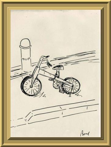折りたたみ式自転車街の風景