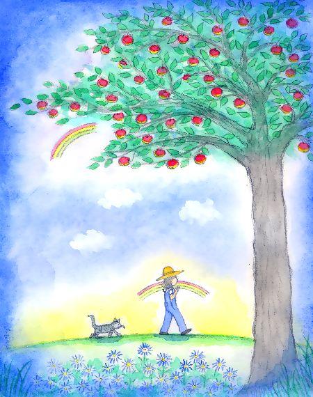 ブログ童話館アートメルヘン  虹と林檎の木のある風景