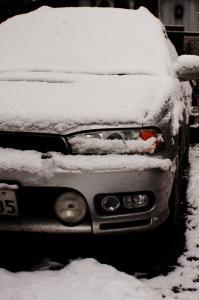 雪の朝-レガシィ