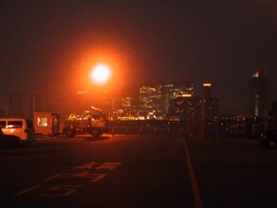 お台場の光とハロゲン灯