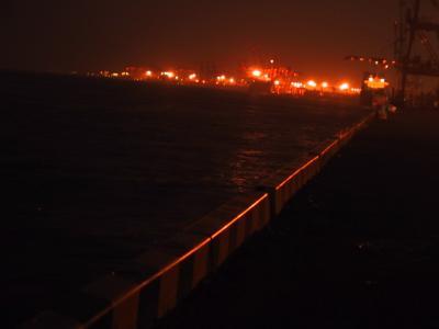 夜の埠頭の岸壁