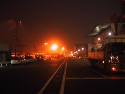 夜の埠頭の道路