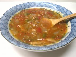 ツナとインゲンのジェノベーゼトマトスープ