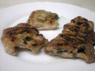 豚肉のニラ味噌はさみ焼き