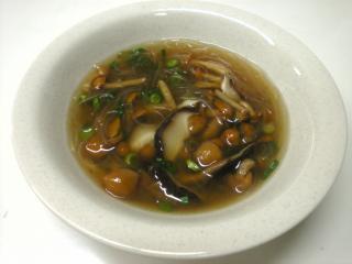 なめたけと干ししいたけの春雨スープ