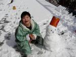 ダイちゃんと、3人で作った雪だるま。