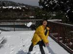 この後、投げた雪がレンズを直撃したのであ~る (´_`。)