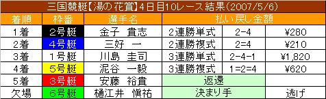 5/6・10レース結果