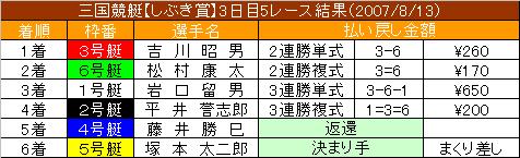 8/13・5レース結果