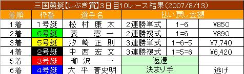 8/13・10レース結果