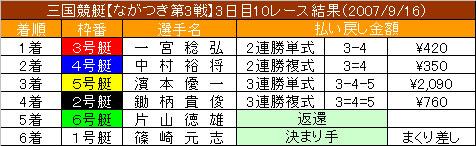 9/16・10レース結果