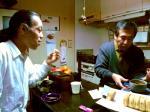 1セット終了後、休憩に奥ちゃまが買ってきてくれた回転焼きとお抹茶を頂く村山氏と@茶碗さん