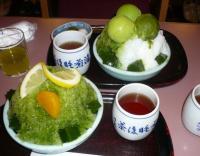 京都四条の商店街にあるお茶屋【辻利】のカキ氷