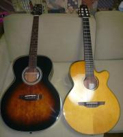 右:スチール弦アコースティックギター 左:エレキガットギター