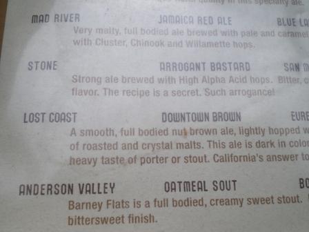 menu of beer