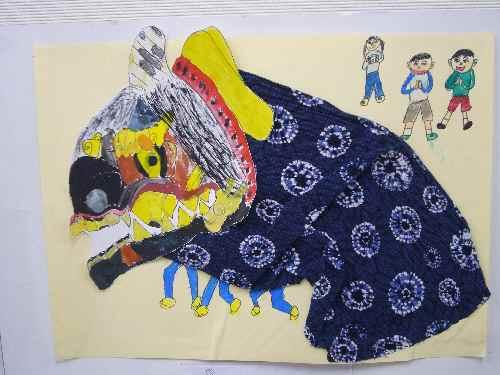 獅子舞の絵画⑦