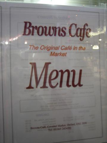 オックスフォード市場のカフェ メニュー1
