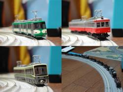 左上:東急300系・右上:登山鉄道モハ1形・左下:江ノ電2000形・右下:Bトレ小田急9000系の足回り