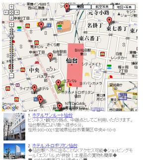 仙台駅周辺ホテル地図