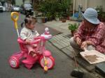 近所のおばあちゃんと三輪車のりこたん