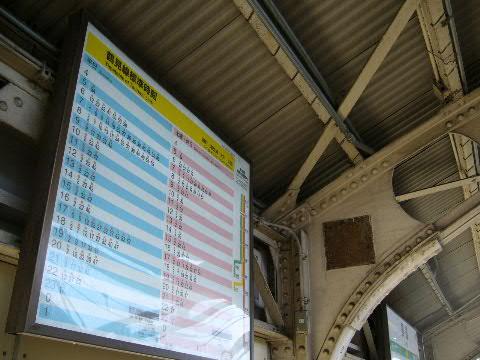 国道駅ホーム上の時刻表