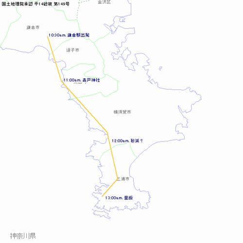 本編前半軌跡(鎌倉~三崎)
