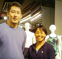 山根コーチと上田藍選手