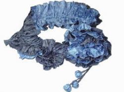 コサージュスカーフ ブルー(59)×ブルーグレー(85)