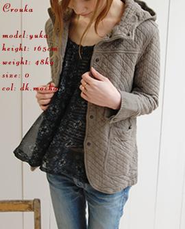 cotton quilt hooded jkt