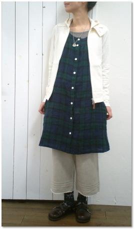 リネンチェックジャンパースカート