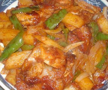 ポテトと豚肉のケチャップ炒め