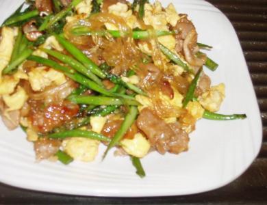 アスパラ・葛きり・豚肉の甘辛炒め