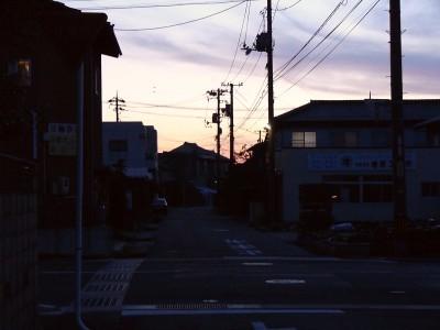 夕暮れの大津町
