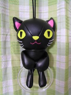 黒猫タオル掛け
