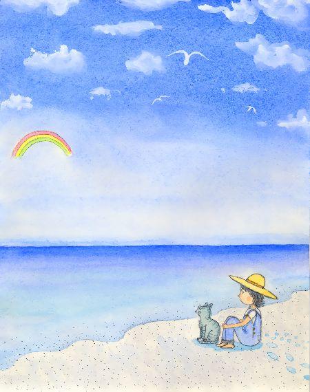 黒澤はるお ブログ童話館アートメルヘン ペディアと猫のペトロの旅 カモメと虹のある風景